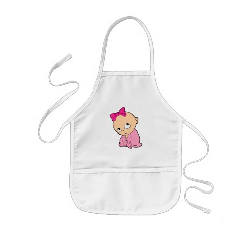 baby in pink with bow aprons