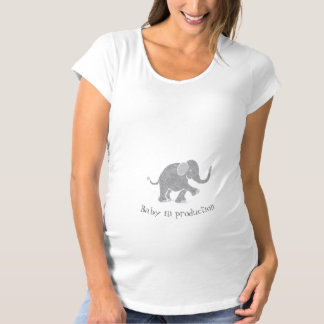"""""""Baby in Production"""" Neutral Cute Grey Elephant Maternity T-Shirt"""