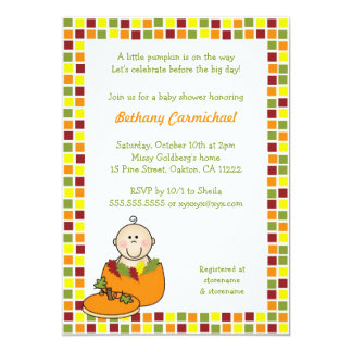 Baby in Pumpkin Baby shower invites / Fall Mosaic