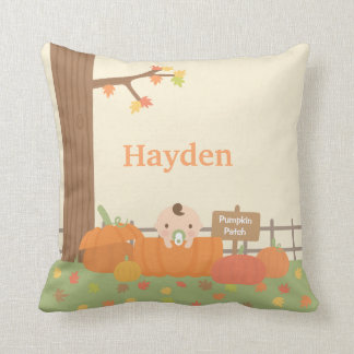 Baby in Pumpkin Fall Theme Nursery Room Decor Throw Pillow