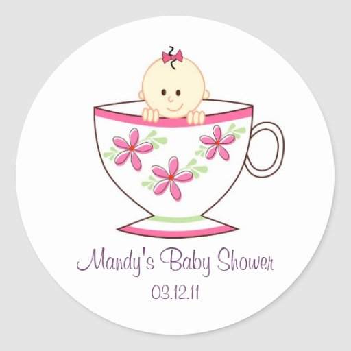 Baby in Tea Cup Stickers / Toppers