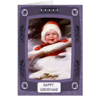Baby in the snow greeting cards