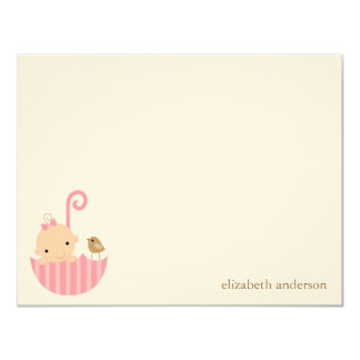 Baby in Umbrella Custom Flat Thank You Cards