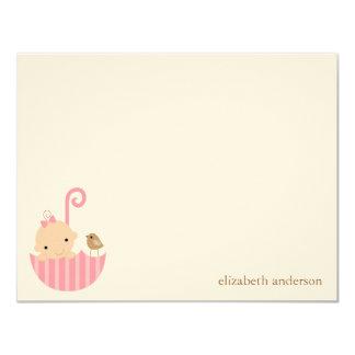 "Baby in Umbrella Custom Flat Thank You Cards 4.25"" X 5.5"" Invitation Card"