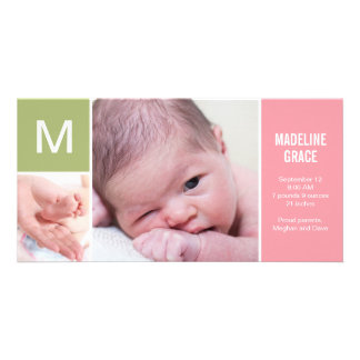 Baby Initial Birth Announcement - Pink Custom Photo Card