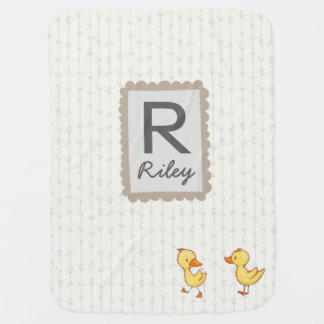 Baby Initial Name Blanket Neutral Cute Ducks