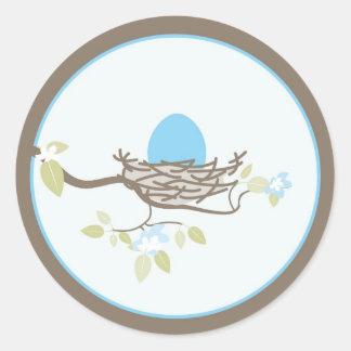 Baby Invitation/Favor Sticker - Blue Egg in Nest
