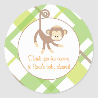 Baby Invitation or Favor Sticker - Monkey
