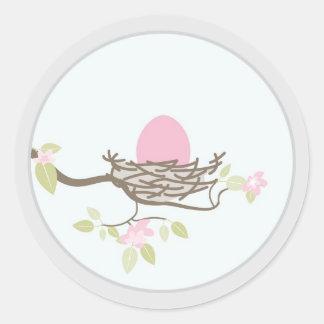 Baby Invitation or Favor Sticker -Pink Egg in Nest