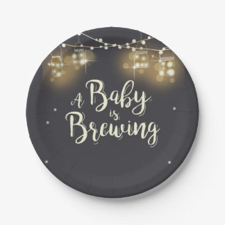Baby is brewing Paper Plates Baby BaByQ Couples