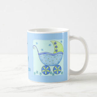 "Baby ""Its A Boy"" Name Personalized Blue Coffee Mug"