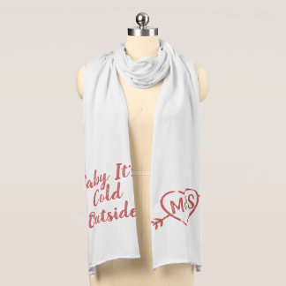 Baby It's Cold Love Doodle Monogram Scarf
