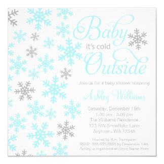 "Baby It's Cold Outside Aqua Gray Baby Shower 5.25"" Square Invitation Card"