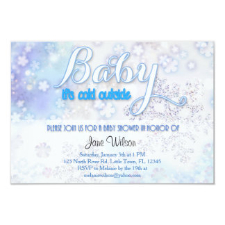 "Baby it's cold outside Baby Shower 3.5"" X 5"" Invitation Card"