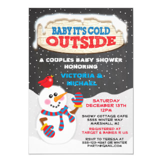 "Baby it's cold outside baby shower 5"" x 7"" invitation card"
