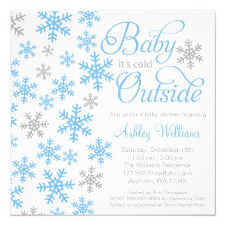 """Baby It's Cold Outside Blue Gray Baby Shower 5.25"""" Square Invitation Card"""