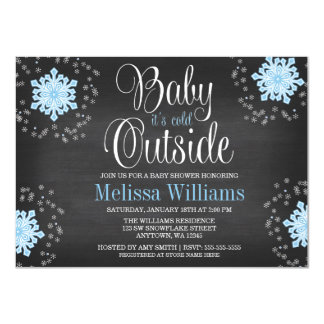 "Baby It's Cold Outside Blue Snowflakes Baby Shower 4.5"" X 6.25"" Invitation Card"