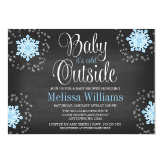 """Baby It's Cold Outside Blue Snowflakes Baby Shower 5"""" X 7"""" Invitation Card"""