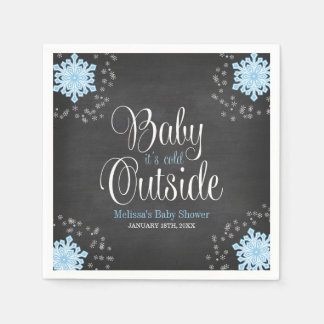 Baby It's Cold Outside Blue Snowflakes Baby Shower Paper Napkins