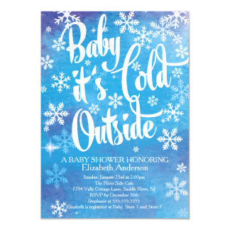 """Baby It's Cold Outside Boys Winter Baby Shower 5"""" X 7"""" Invitation Card"""