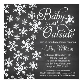 """Baby It's Cold Outside Chalkboard Baby Shower 5.25"""" Square Invitation Card"""