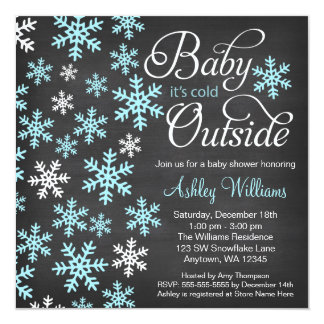 "Baby It's Cold Outside Chalkboard Blue Baby Shower 5.25"" Square Invitation Card"