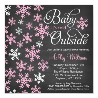 """Baby It's Cold Outside Chalkboard Pink Baby Shower 5.25"""" Square Invitation Card"""