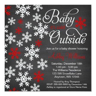 """Baby It's Cold Outside Chalkboard Red Baby Shower 5.25"""" Square Invitation Card"""