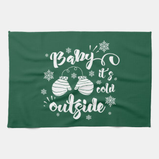 Baby its cold outside cute mittens winter kitchen towel