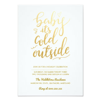 Baby Its Cold Outside Faux Gold Foil | Holiday Card
