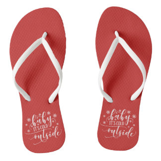Baby It's Cold Outside Holiday Red | Flip Flops
