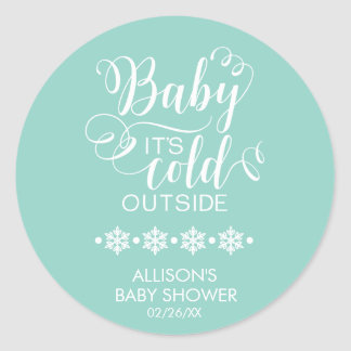 Baby It's Cold Outside Neutral Baby Shower Sticker