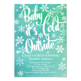 """Baby It's Cold Outside Neutral Winter Baby Shower 5"""" X 7"""" Invitation Card"""