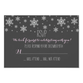 "Baby it's Cold Outside Pink RSVP 3.5"" X 5"" Invitation Card"