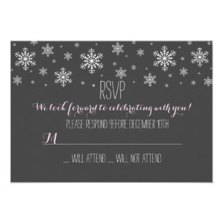 Baby it's Cold Outside Pink RSVP Personalized Announcements