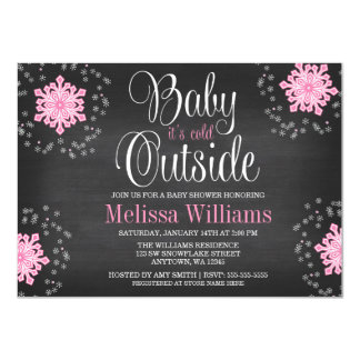 """Baby It's Cold Outside Pink Snowflakes Baby Shower 4.5"""" X 6.25"""" Invitation Card"""