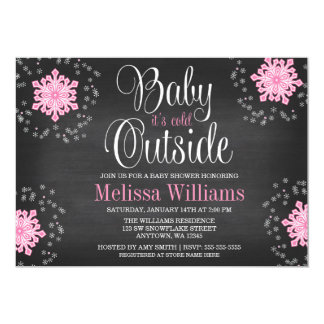 """Baby It's Cold Outside Pink Snowflakes Baby Shower 5"""" X 7"""" Invitation Card"""