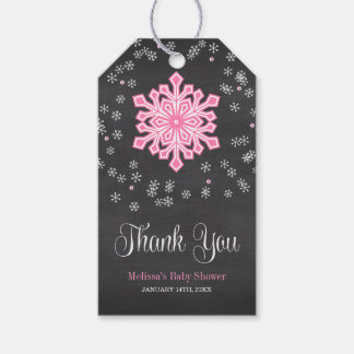 Baby It's Cold Outside Pink Snowflakes Baby Shower Pack Of Gift Tags