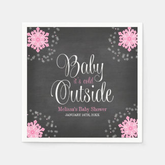 Baby It's Cold Outside Pink Snowflakes Baby Shower Paper Napkin