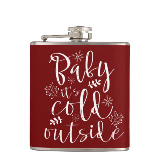 Baby Its Cold Outside Pretty Red & White Christmas Hip Flask