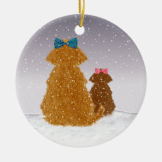 Baby it's cold outside round ceramic ornament