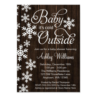 """Baby It's Cold Outside Rustic Wood Baby Shower 4.5"""" X 6.25"""" Invitation Card"""