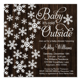 """Baby It's Cold Outside Rustic Wood Baby Shower 5.25"""" Square Invitation Card"""