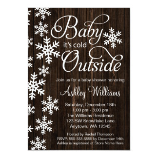 """Baby It's Cold Outside Rustic Wood Baby Shower 5"""" X 7"""" Invitation Card"""