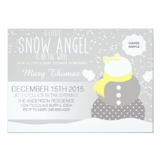 """Baby its cold outside Snow Angel Baby shower 5"""" X 7"""" Invitation Card"""