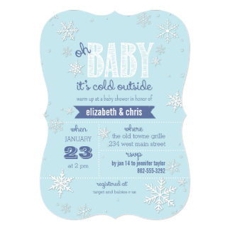 "Baby It's Cold Outside Snowflake Baby Shower 5"" X 7"" Invitation Card"