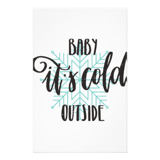 Baby Its Cold Outside Snowflake - Modern Lettering Personalized Stationery