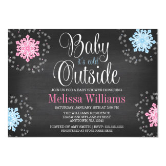 """Baby It's Cold Outside Snowflakes Baby Shower 4.5"""" X 6.25"""" Invitation Card"""