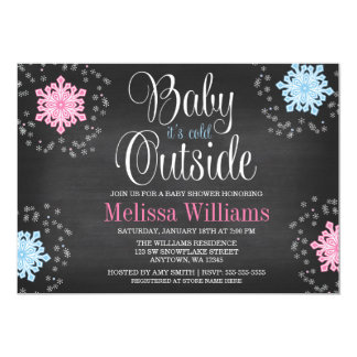 """Baby It's Cold Outside Snowflakes Baby Shower 5"""" X 7"""" Invitation Card"""