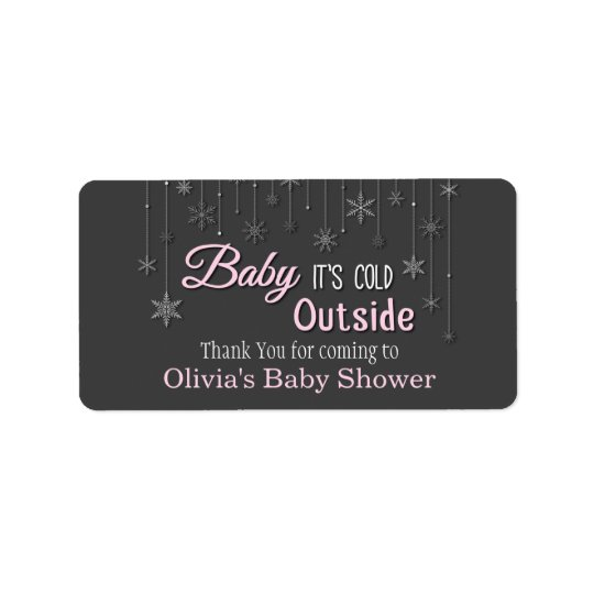 Baby Its Cold Outside Snowflakes Baby Shower Label